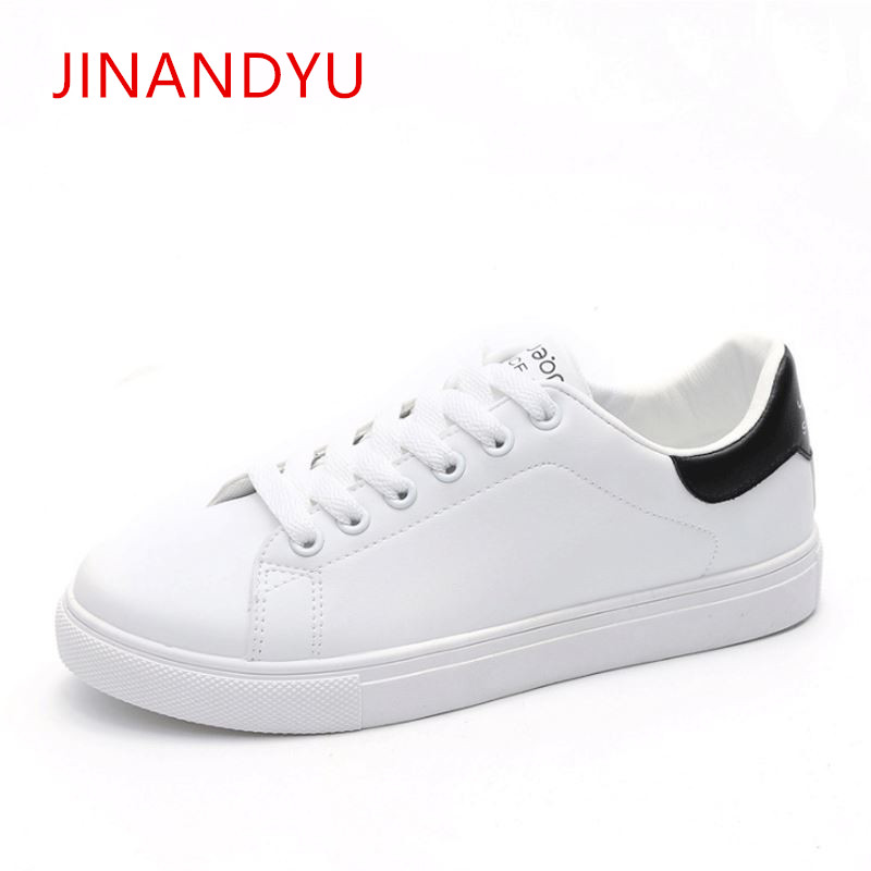 Casual White Flatform Flat Shoes Women Sneakers Casual Ladies Trainers Shoes Woman 2018 Spring Womens Sneakers Zapatillas Mujer in Women 39 s Vulcanize Shoes from Shoes