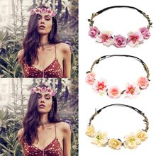 New Designed Bohemia Flower Headband For Girls Fashion Floral Diadem Hair Bands Wedding Headwear Bridal Garland Hair Accessories(China)