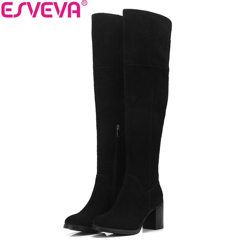 ESVEVA 2019 Shoes Women Short Plush Sewing Over The Knee Boots Square High Heels Winter Boots for Woman Round Toe Size 34-39 esveva 2018 boots square heels short plush women boots high heels round toe elegant over the knee boots ladies shoes size 34 39