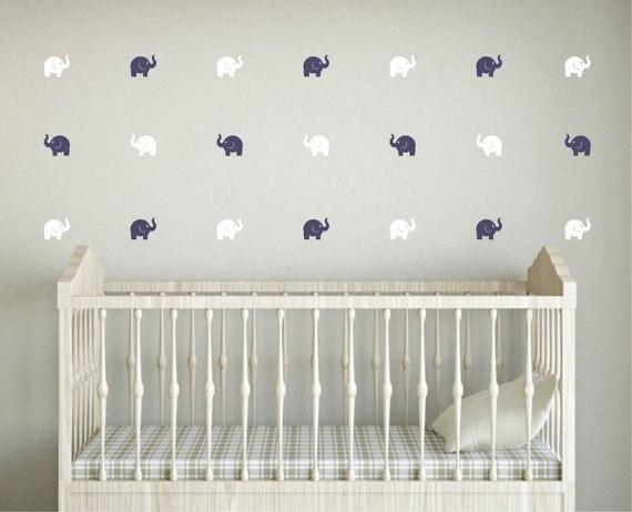 Cute Elephant Wall Sticker Baby Nursery Elephant Wall Decal Kids Room DIY Children Wall Decors Easy Wall Sticker P27
