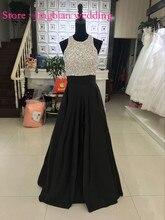 Neue Ankunft Schwarz mit Silber Perlen Kristall Abendkleid 2016 Sexy Backless Bodenlangen Maß Abendkleid Real Photo