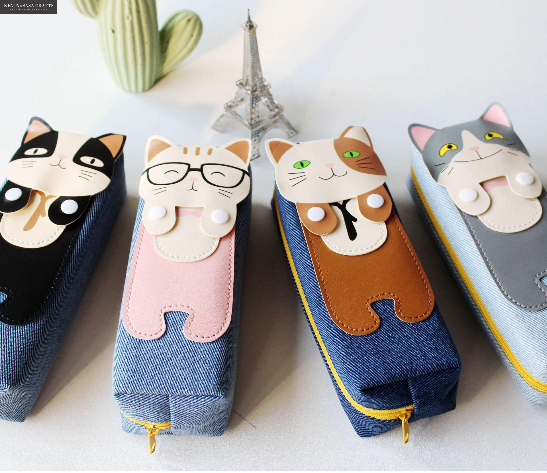 Cat Pencil Case Quality Fabric School Supplies Bts Stationery Gift Pencilcase School Cute Pencil Box School Tools Pencil Bag loz ideas diamond block cat white cute pencil case stationery storage box pixel building toy diy gift student supplies 9096 2