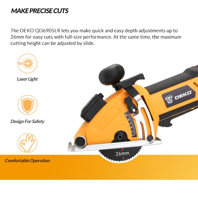 DEKO Mini Circular Saw Power Tools with Laser, 4 Blades, Dust passage, Allen key, Auxiliary handle, BMC BOX Electric Saw 1