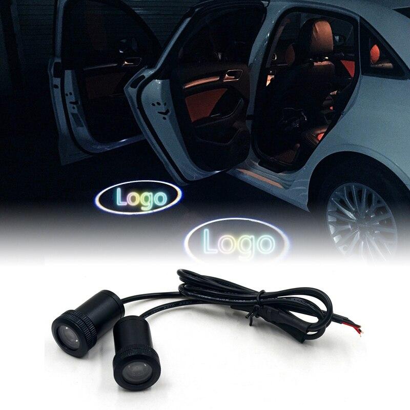 2 unids coche LED puerta Bienvenido logo Proyector láser para BMW Toyota Honda Nissan Hyundai KIA Volkswagen Audi Ford fantasma luz de la sombra