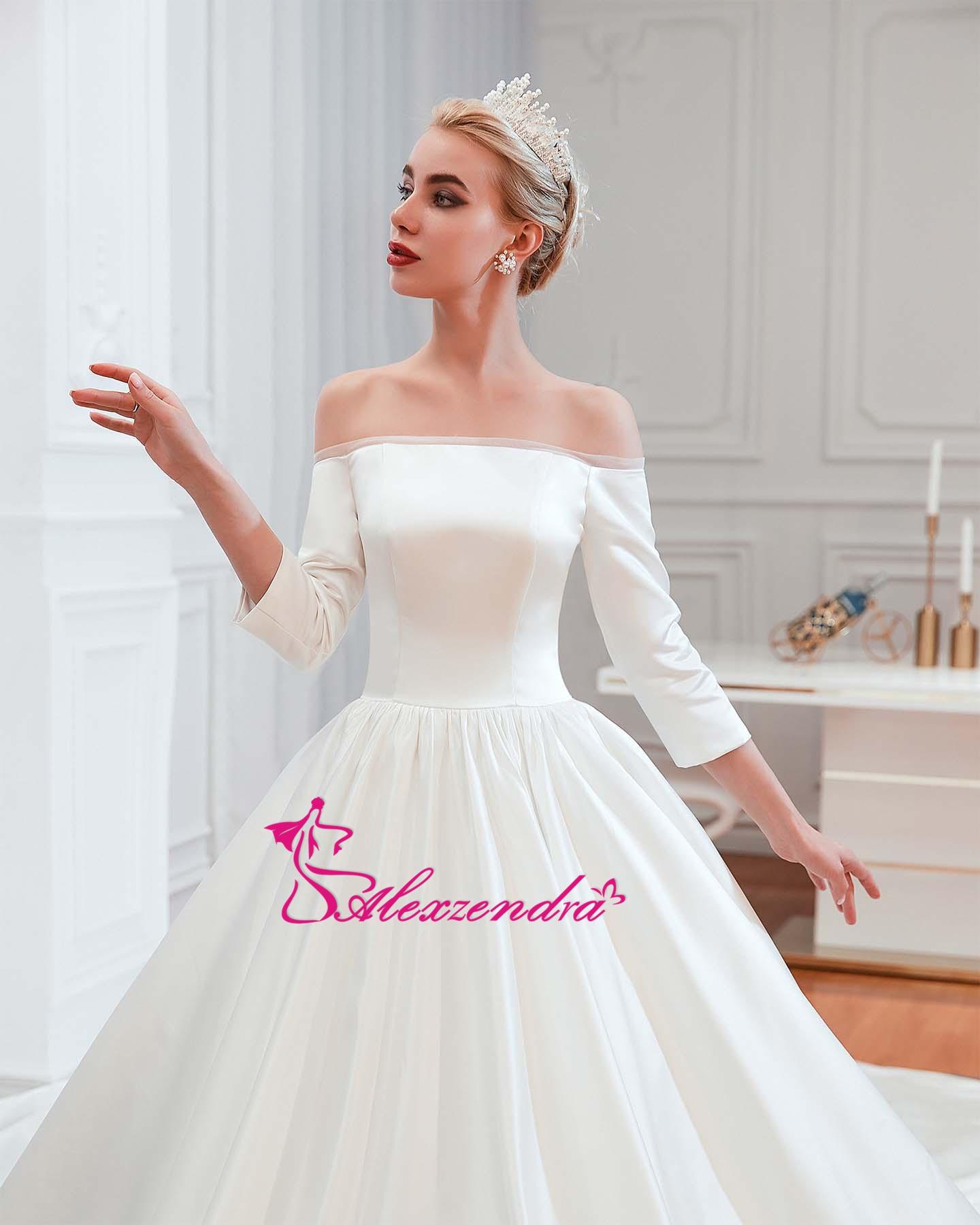 Alexzendra robe de bal en Tulle brillant robes de mariée élégantes pour la mariée perlée ceinture Vintage princesse mariée robes de grande taille - 5
