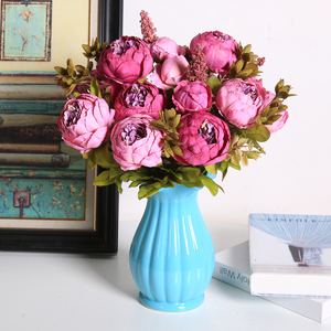 Image 3 - Flores artificiales Luyue, guirnalda de peonías Estilo Vintage europeo para boda, flores artificiales de seda, 13 ramas para decoración de fiesta en casa
