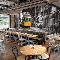 Free Shipping Hong Kong Style Fast Food Restaurant Lounge Bar KTV Wallpaper Murals Retro Nostalgia 3D