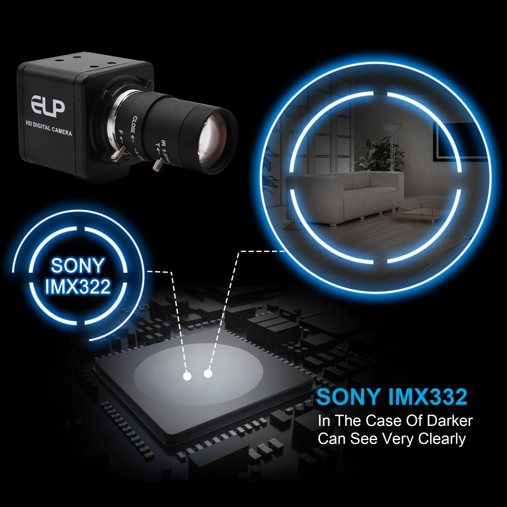 H.264 1080P Low Illumination 0.01Lux Sony IMX322 Industrial USB Webcam Camera HD With CCTV Varifocal 2.8-12mm Lens for Win7 Win8