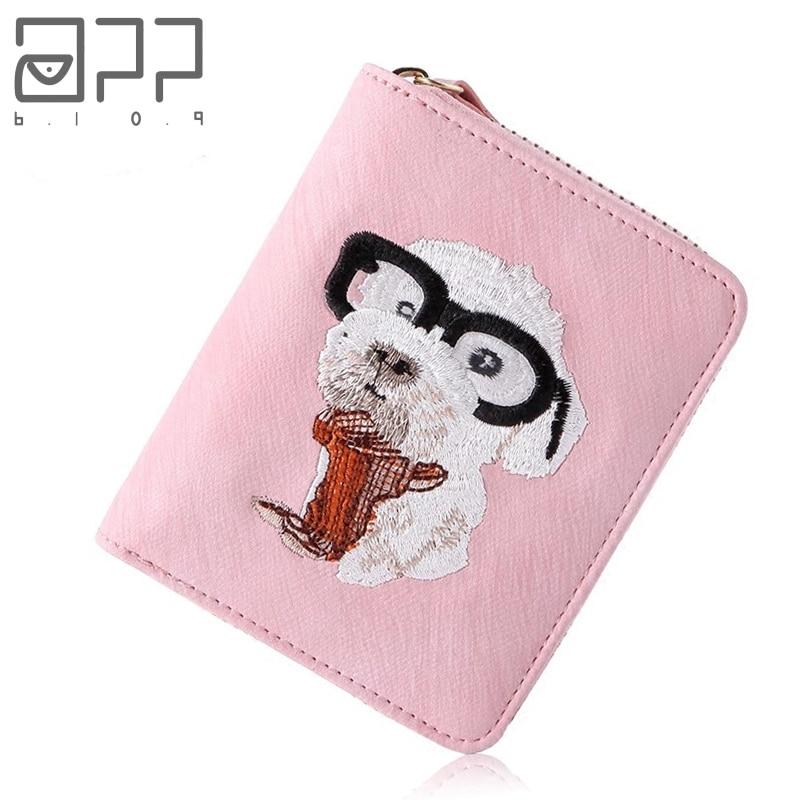 APP BLOG Brand Short Women's Cute Embroidery Dog Purse 2017 Fashion Hasp Clutch Female Wallet Card Bag Carteira Feminina Mujer