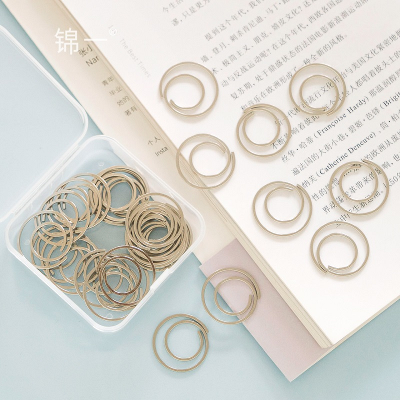 TUTU 60pac/box Sliver Circle Paper Clip Flat Wire Clip Electroplated Metal Bookmark Memo Clip For School Paper Organizer H0210