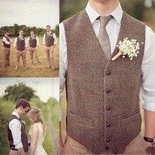 Горячая Деревенская ферма Свадьба коричневый шерсть твид в елочку жилеты жених жилет свадебный жилет