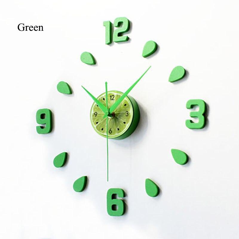 2018 New Lemon Green Design Sticker EVA 60CM Wall Clock Colour Big Large Decorative 3d Diy Wall Clock For Kitchen Children Room