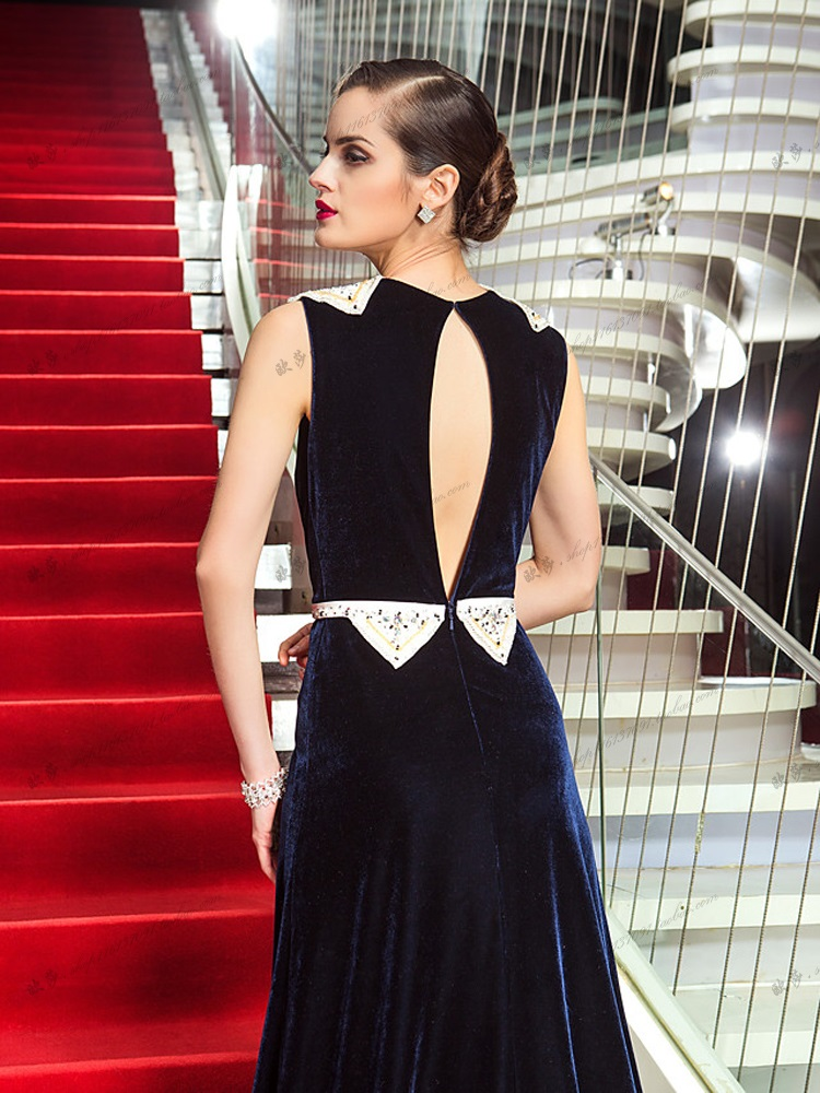 sleeveless Evening party gown Sexy Prom beading robe de soiree courte long indian  saree Navy velour mother of the bride dress-in Mother of the Bride Dresses  ... 49fa3a5f2e05
