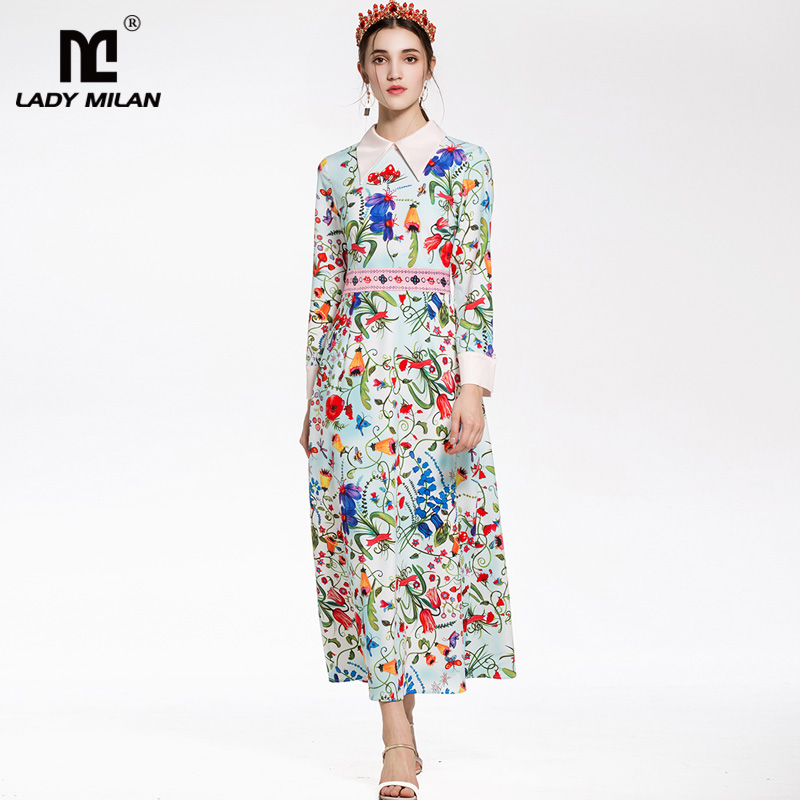 New Arrival 2018 Womens Turn Down Collar Long Sleeves Patchwork Floral Printed High Street Fashion Mid Calf Dresses