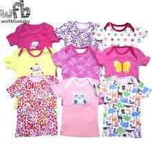 Розничная ; 5 шт./лот; футболка с короткими рукавами для детей от 0 до 24 месяцев Одежда для новорожденных с героями мультфильмов; милая летняя одежда для мальчиков и девочек