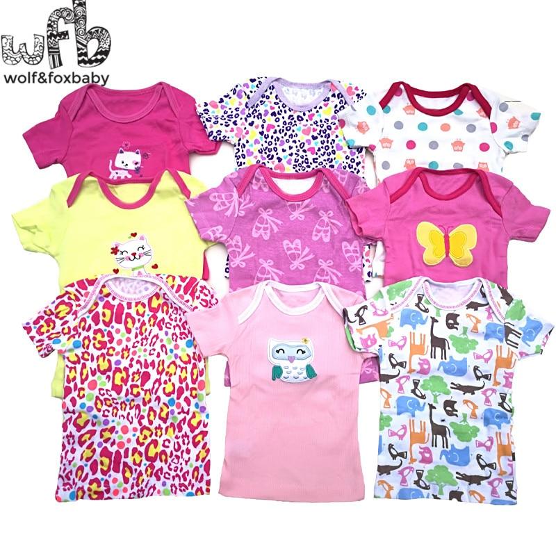 Retail 5pcs/lot 0-24months Short-sleeve T Shirt Baby Infant Cartoon Newborn Clothes For Boys Girls Cute Clothing Summer