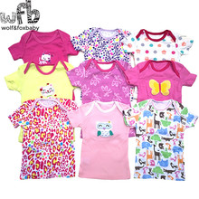Retail 5pcs/lot 0-24months short-sleeve t shirt Baby Infant cartoon newborn clothes for boys girls cute Clothing summer