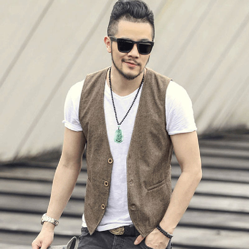 2018 new spring & summer Khaki color single breasted cotton linen vest casual mens suit vest wedding waistcoat brand clothing