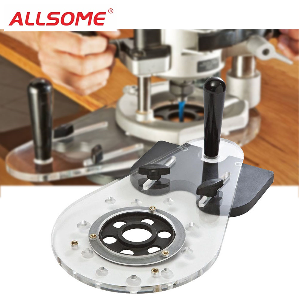 ALLSOME Universal Router Base Plate Woodworking Router guide for Electric Drill Bits Set Drill Press CNC Machine HT2377ALLSOME Universal Router Base Plate Woodworking Router guide for Electric Drill Bits Set Drill Press CNC Machine HT2377