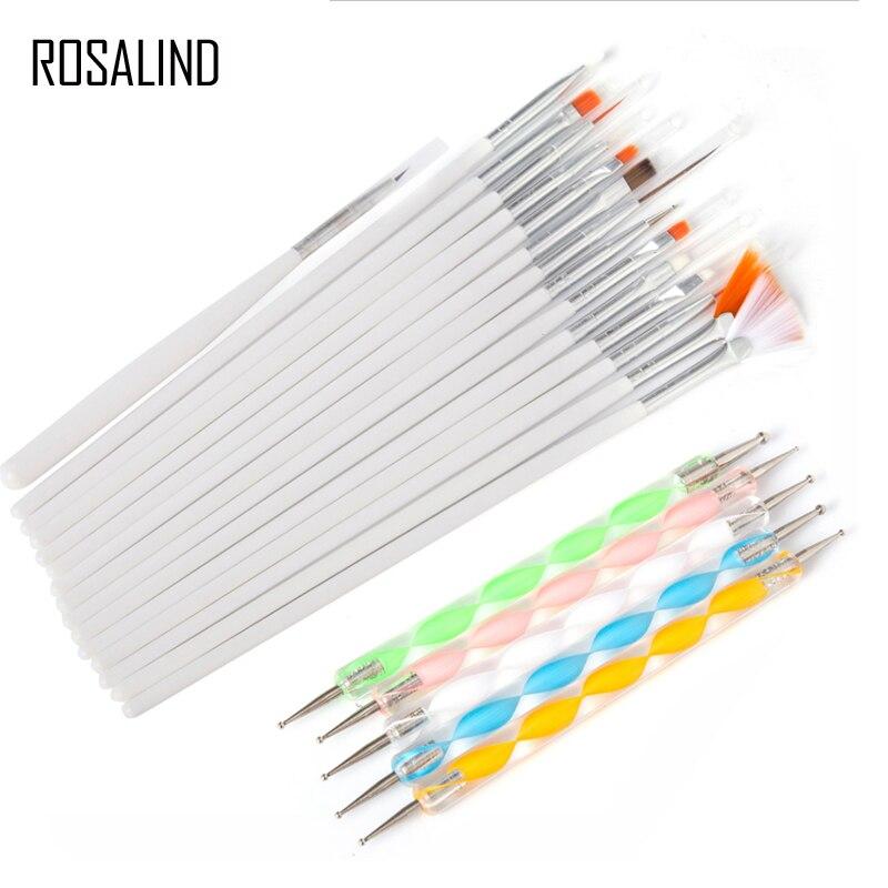ROSALIND 20 Pcs/Set Nail Brushes Design Set Dotting Painting Drawing Nail Art Nail Tools Polish Brush Pen