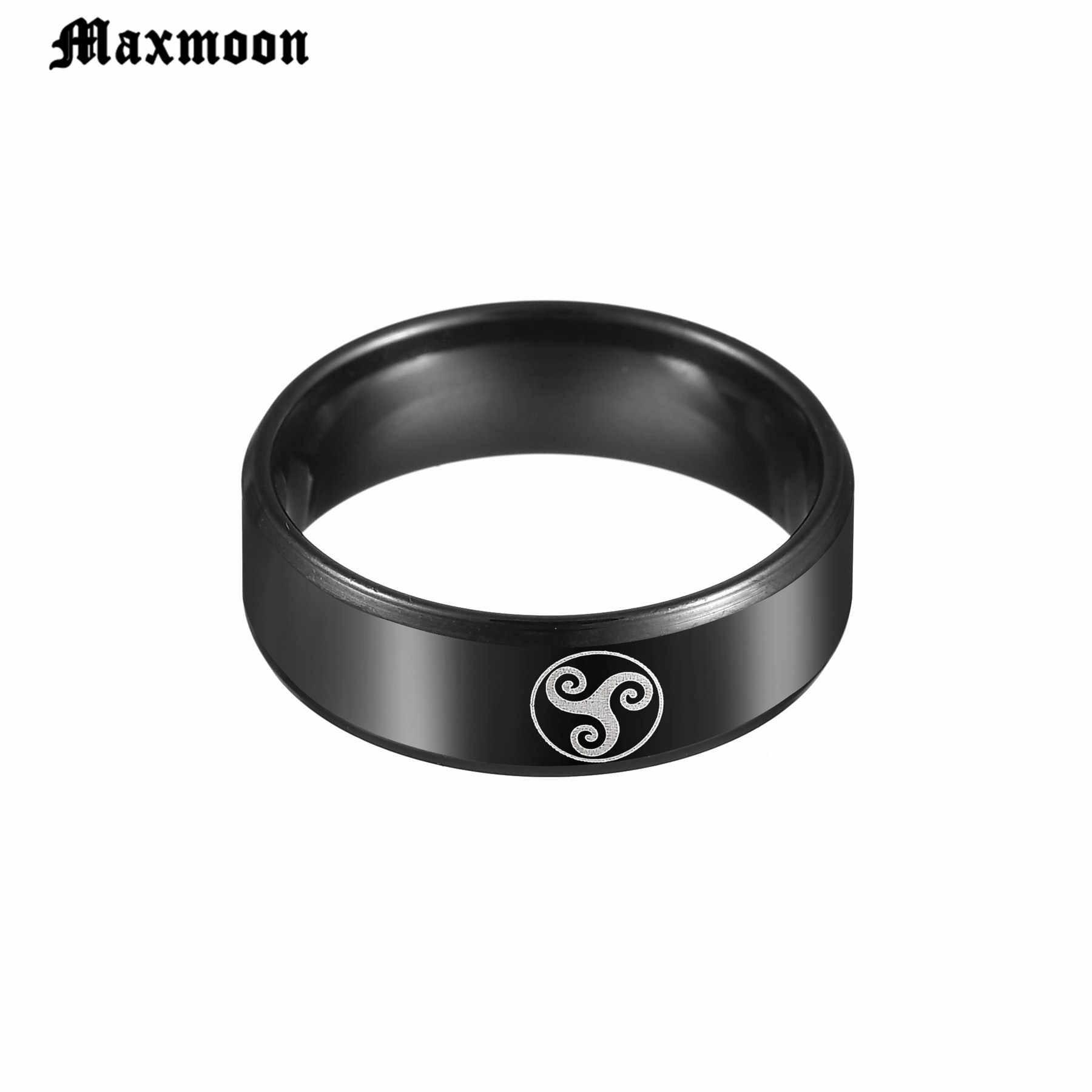 Maxmoon Black Teen Wolf โลโก้แหวนไทเทเนียมชายแฟนหนังผู้ชายแหวนเครื่องประดับของขวัญ