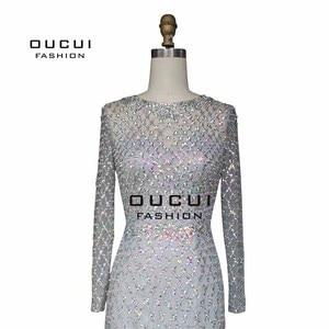 Image 5 - Real Photos Crystal Mermaid Long Sleeve Hand Made Illusion Full  Beading Long Evening Dress Close Back Luxury  OL103064B