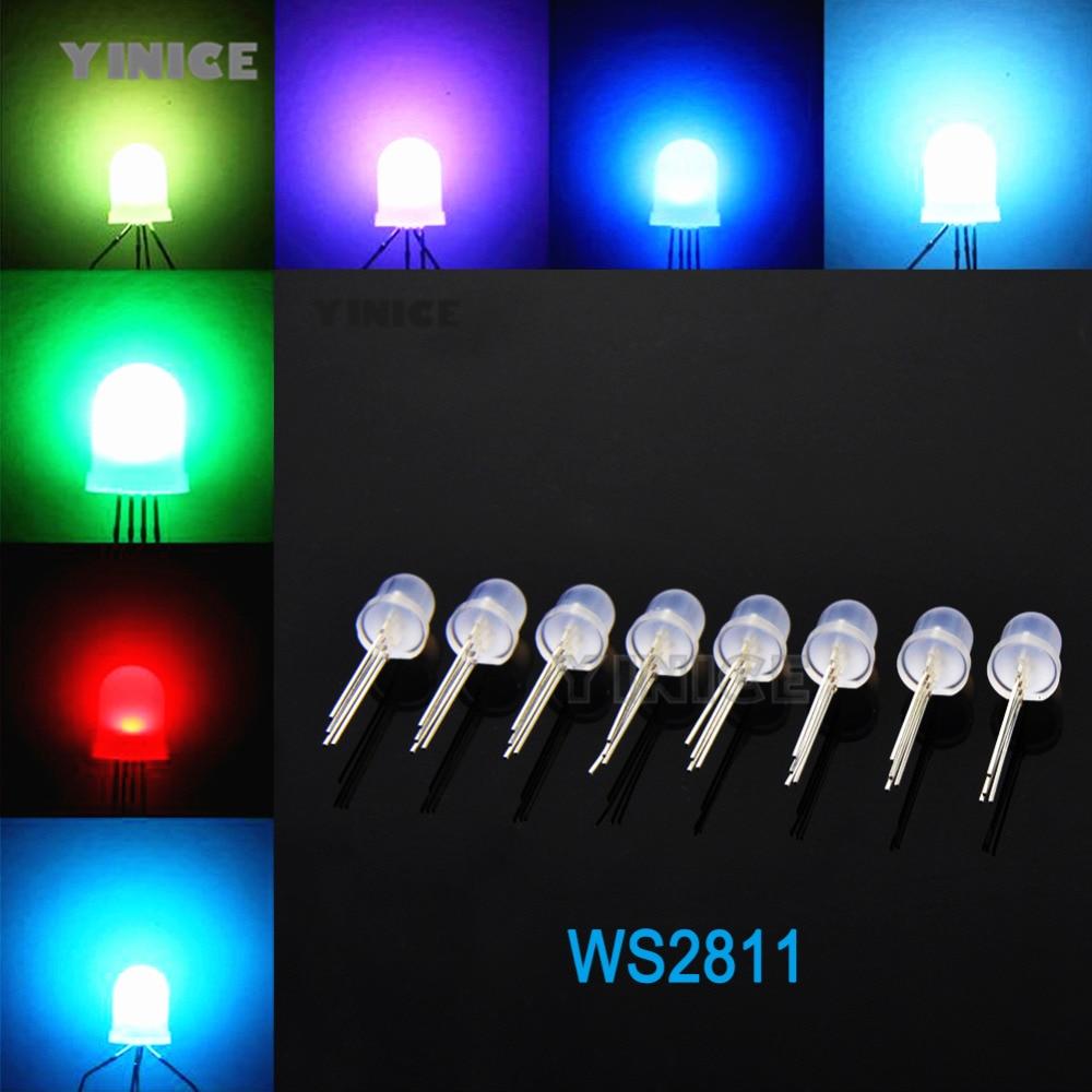 50pcs PL9823 F8 8mm LED round RGB LED P9823 chipset inside Full color LED