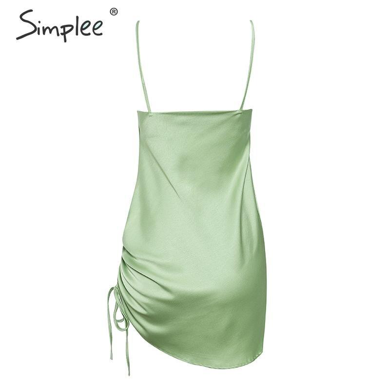 Simplee Satin slash neck women dress Sexy spaghetti strap ladies party dress Soft drawstring female short mini dress vestidos