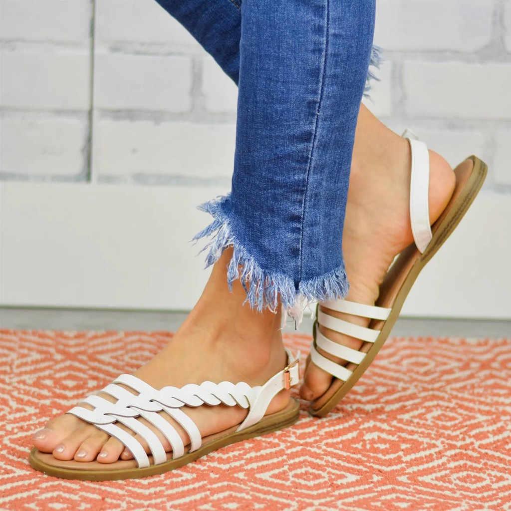 SAGACE ผู้หญิงสุภาพสตรีสายคล้องคอข้อเท้า Buckle Braided Cushioned รองเท้าแตะโรมันรองเท้าคุณภาพสูงเซ็กซี่นอกรองเท้าผู้หญิง