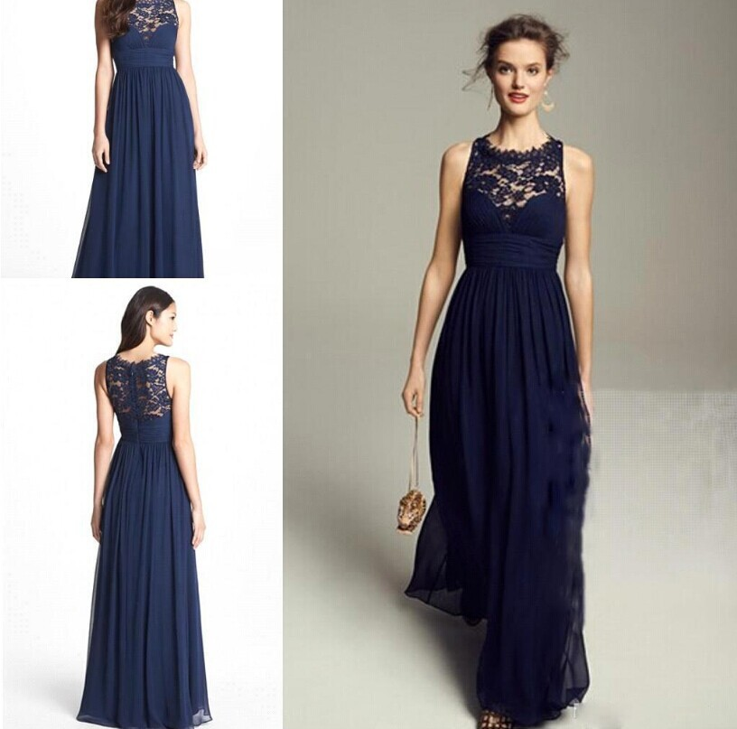 Navy Blue Chiffon Long Bridesmaid Dresses With Lace New Floor Length Empire Waist Sheer Back Wedding Party In From Weddings