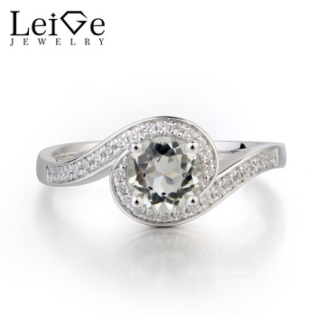 Leige Jewelry Genuine Natural Green Amethyst Ring Cocktail Party Ring Round Cut Green Gemstone Solid 925 Sterling Silver Ring