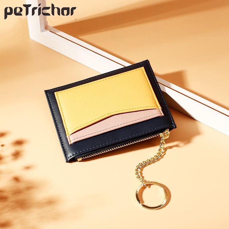 Small Wallet Purse Short Patchwork-Bag Credit-Card-Holders Coin Zipper Slim Girls Women