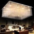 Большой светодиодный кристалл роскошный прямоугольный подвесной светильник Современный Креативный железный светильник для столовой спал...