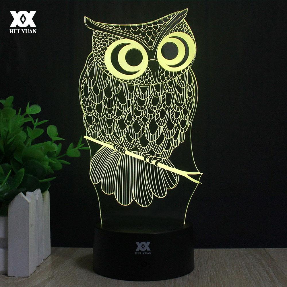 Pöllö 3D-lamppu R2-D2 hirvi LED kaukosäädin yövalo USB eläinten - Yövalot