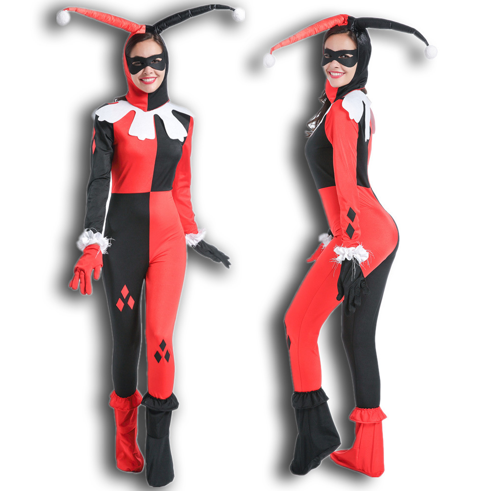 Adult Classic Harley Quinn Cosplay Costume Fantasia Halloween Costumes For Women Clown Jumpsuits Harry Qinn Anime Circus Clown