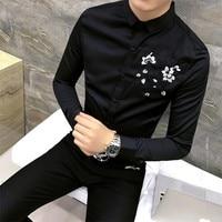 Top Quality Men Shirt Fashion Designer Kwiatowym Haftem męska Koszule Z Długim Rękawem Koszula Slim Fit Klub Nocny Smokingu mężczyzna