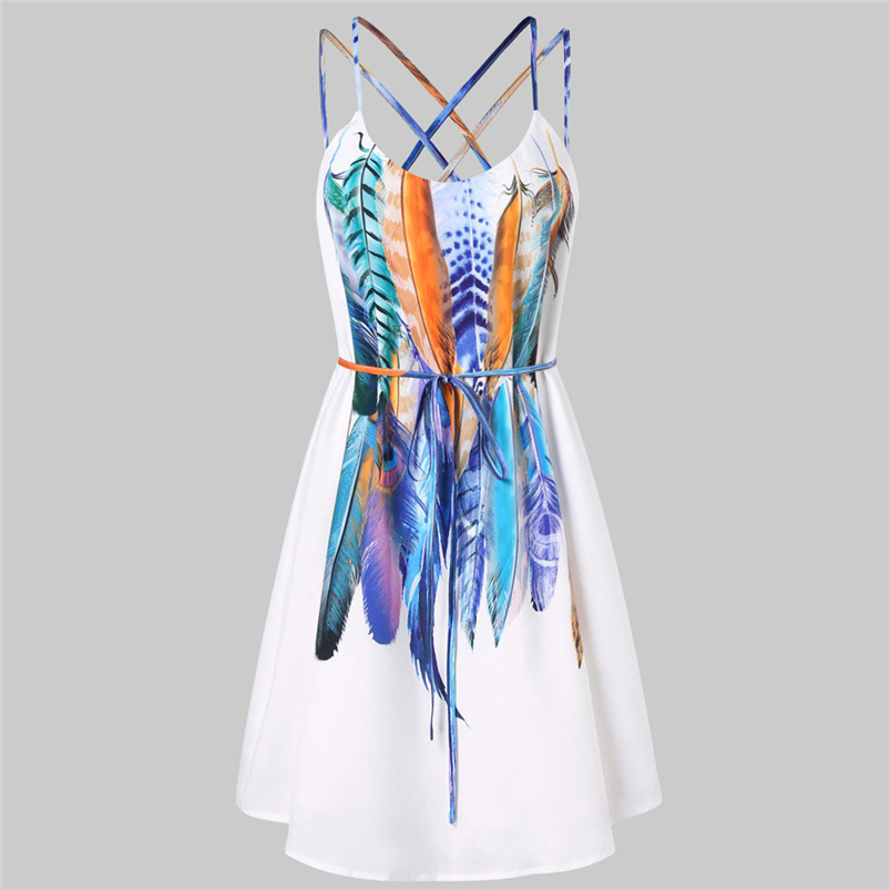 2018 Summer Dress Women Sexy Beach Bandage Printed Feathers Dress Backless Party Dress Sleeveless Vestidos Wholesale #FJ11 (2)