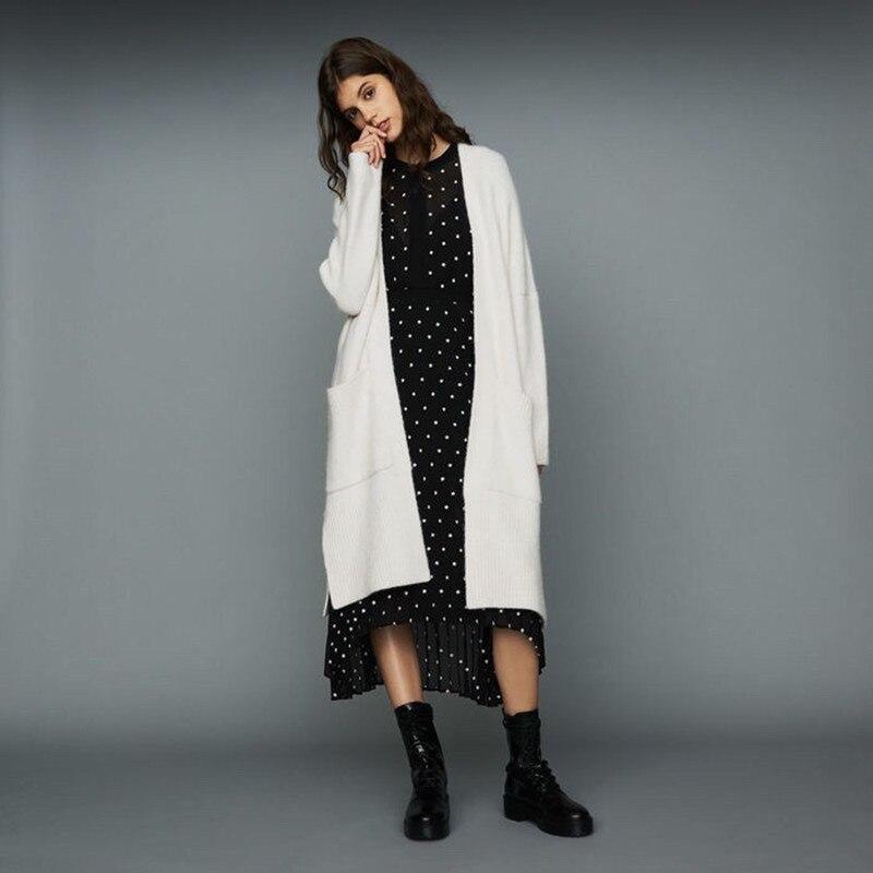 Women Lazy Wind Long Batwing Sleeve Double Pockets Wool Viscose Autumn Winter Long Cargigans Coat