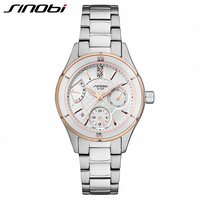 SINOBI New Ceramic Watches Women Full Steel Dress Wristwatch Lady Quartz Watch Waterproof Diamond Golden Watches