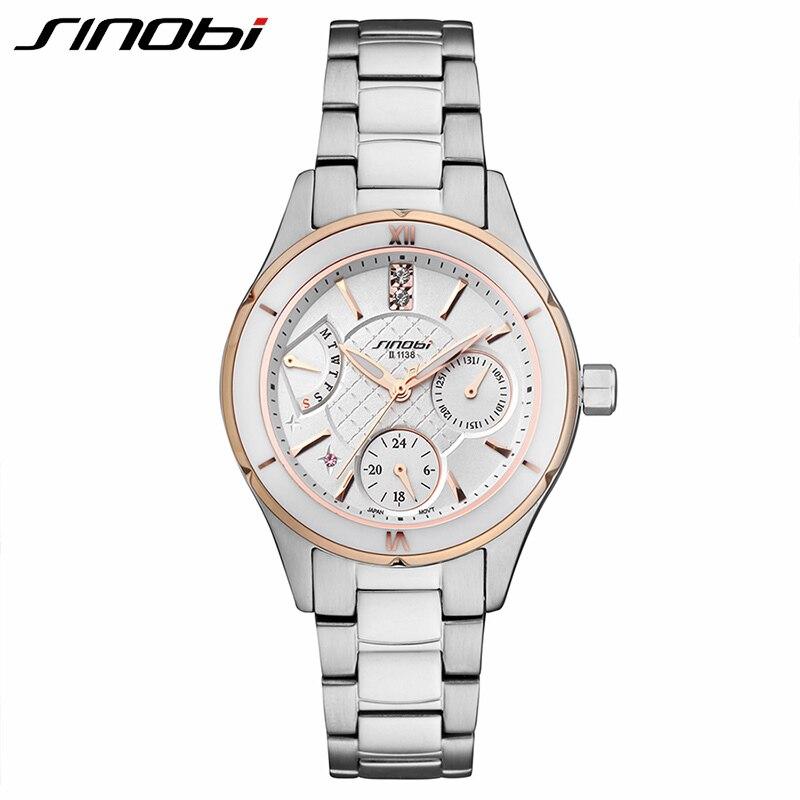 SINOBI חדש קרמי שעונים נשים מלא פלדה - שעונים גברים