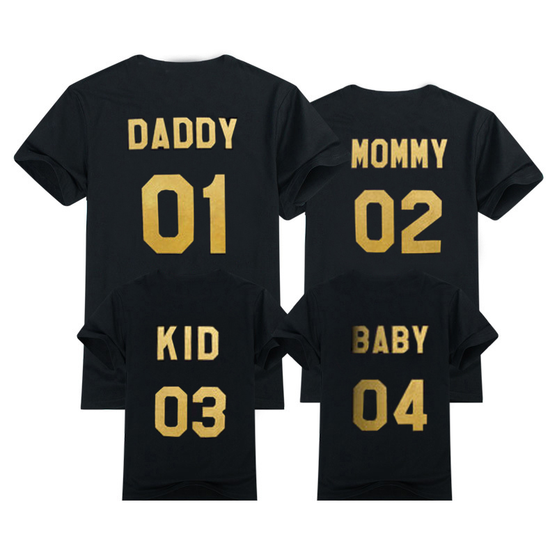 2019 Family Look Summer Fashion Dad Mum Baby T-shirts Outerwear Number Printed Family Matching Outfits Clothes Tee Shirt Famille
