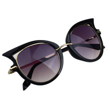 Women Sunglasses 2017 Retro Design Black Metal Frame Golden Leg Reflective Sun Mirror Sunglasses Eyewear Cat Eye Glasses Gafas