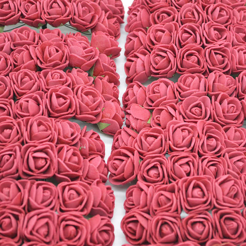 36/72/144pcs 2cm Decorative Teddy Bear Rose PE Foam Artificial Flower Bouquet For Home Wedding Decoration DIY Wreath Fake Flower