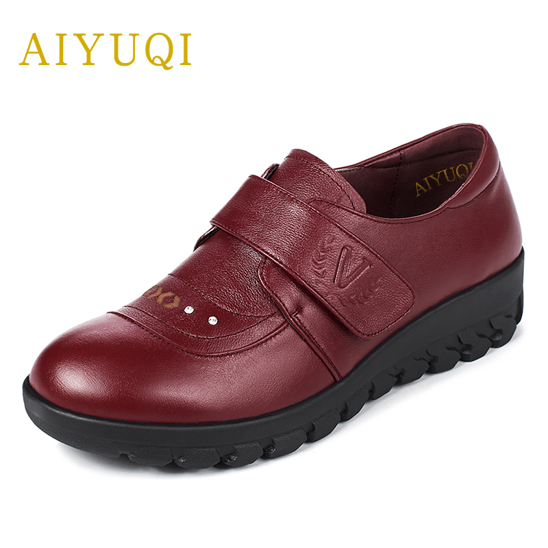 AIYUQI 2018 new spring big size 41#42#43# women flats shoes genuine leather comfortable middle-aged mother shoes red female aiyuqi big size 42 100% natural genuine leather female flat shoes 2018 spring new ladies shoes comfortable nurse shoes female
