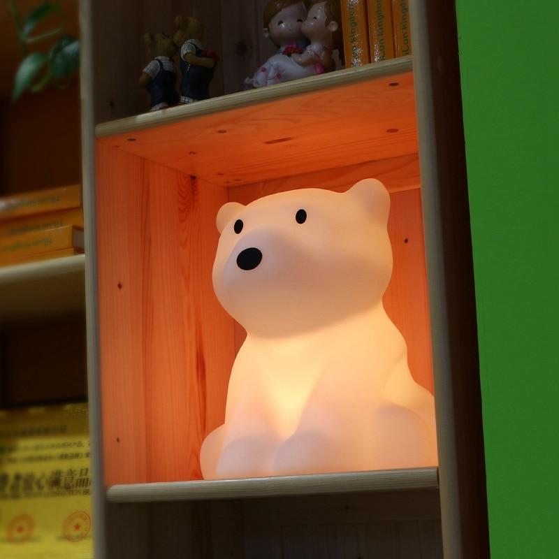 Polar Bear LED Night Light Swivel Dimmable Novel Gift for Kids Sleeping Warm White Baby Lamp Silicone Indoor Decoration Light - 6