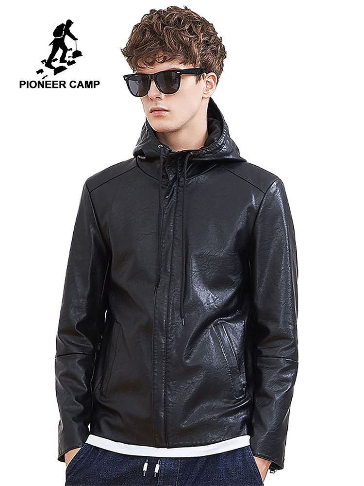 Pioneer camp new arrivals Leather jackets men brand clothing casual hooded motorcycle jacket male quality leather coat AJK803545