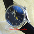 Parnis 43mm date casual watch  black dial moonphase display  mechanical Automatic movement men's wristwatch