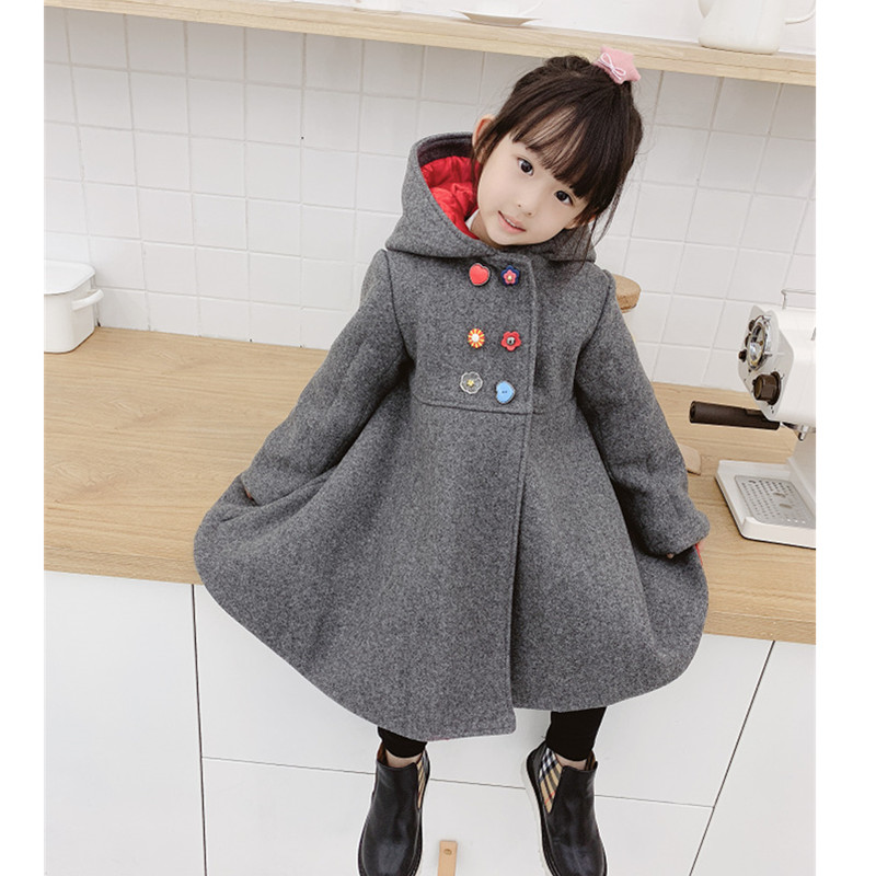 Baby winter coat cotton padded solid gray color floral button hooded baby girls outwear coat фотоаппарат sony cyber shot dsc rx10m2