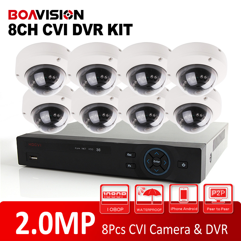 8 Channel 1080P Dome Vandal-Proof 8Ch HD CVI Camera DVR Kit 2.0MP HDCVI IR 10m Outdoor Surveillance Security CCTV Camera System grand style туфли grand style 280 467 желтый