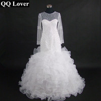 QQ Lover 2019 New African Styles Luxury Pearls Beads Long Sleeves Mermaid Wedding Dress Custom made Plus Size Wedding Gowns